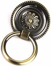 Generic Vintage Runde Blumenmuster Single Loch für Schranktür Schublade Möbel Kommoden , Farben und Größe Auswählbar - Gold, L