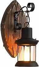 Generic Vintage Wandleuchte Retro Holz Wandlampe