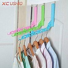Generic Weiß: Door Hanging Faltbare Kleiderbügel magic 5Loch Kleiderbügel Rack mit Haken Platz sparen Kleidung Krawatte Organizer Creative Trocknen Rack