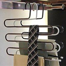 Generic Weiß: Hot verkaufen 1New Metall Hose Magic Kleiderbügel/Rack Multifunktions Pants Closet Gürtel Halter Rack S-Typ-5Schichten platzsparend 114