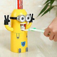 Generic Zwei Augen: Minion Zahnpastaspender Kids Automatische Zahnpasta Spender Bad Accessoires Zahnputzbecher aus Kunststoff Bad Produkte