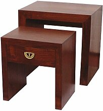Générique 1245Satztisch mit Schublade Holz braun 52x 50x 38cm Set 2