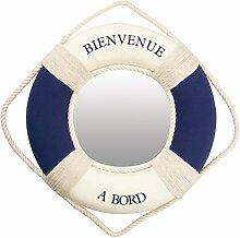 Générique 652Spiegel Schwimmsitz Willkommen an Bord, Durchmesser: 30cm Stoff Beige 30x 30x 5cm