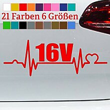 Generisch Herzschlag 16V Aufkleber Tuning Zylinder