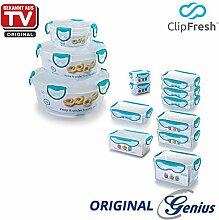 Genius ClipFresh | Frischhaltedosen | Kombi-Set | 13 Teile | Rund | Eckig | Schadstoff - Frei | Vorratsdose | Multifunktionsboxen | Tiefkühl | Mikrowelle | Spülmaschine | NEU