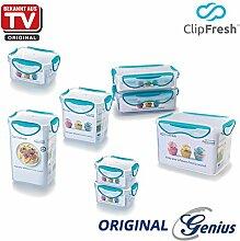 Genius ClipFresh | Frischhaltedosen | Kombi-Set | Eckig | 8 Teile | Schadstoff - Frei | Vorratsdose | Multifunktionsboxen | Tiefkühl | Mikrowelle | Spülmaschine | NEU