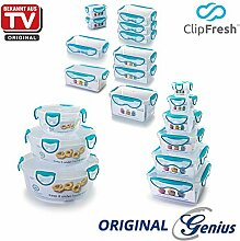 Genius ClipFresh | Frischhaltedosen | Kombi-Set | Eckig | Rund | 19 Teile | Schadstoff - Frei | Vorratsdose | Multifunktionsboxen | Tiefkühl | Mikrowelle | Spülmaschine | NEU