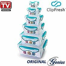 Genius ClipFresh | Frischhaltedosen - Set | Eckig | 6 Teile | Schadstoff - Frei | Vorratsdose | Multifunktionsboxen | Tiefkühl | Mikrowelle | Spülmaschine | NEU