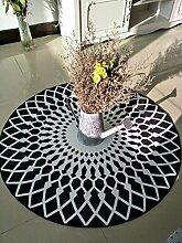 Geometrie Runde Kuhfell Teppich Schlafzimmer Nachttisch Wohnzimmer Teppich Tisch Sofa Korb Stuhl Teppich ( Color : Black , Size : 160CM )