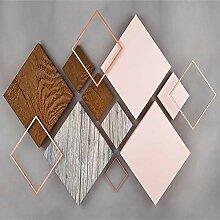 Geometrie Viereck Holzmaserung Fototapete 3D