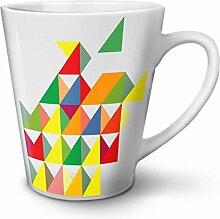 Geometrisch Gestalten Weiß Keramisch Latte Becher 12 oz   Wellcoda