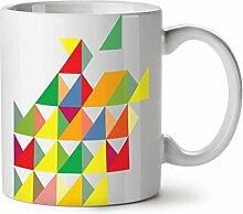 Geometrisch Gestalten Weiß Tee Kaffee Keramisch Becher 11 oz   Wellcoda