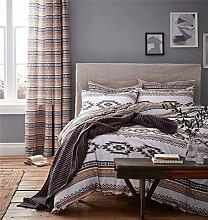 geometrisch Streifen grau weiß umkehrbar Baumwollmischung einzeln (uni silbergrau passendes Leintuch - 91 x 191cm + 25) (Matratzen Schoner gesteppt - 90 x 190cm + 30) 4-tlg. Bettwäsche Se