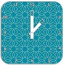 Geometrisch Türkis, Wanduhr Durchmesser 28cm mit