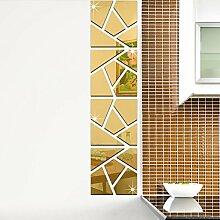 Geometrische Acryl DIY 3D Spiegel TV Hintergrund Wand-Aufkleber,Gold