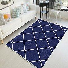 Geometrische Teppiche / Wohnzimmer Kaffeetisch Schlafzimmer Nachttisch Teppich / Studie Halle Matte / dünne Wasser waschen einfache Mode Teppich ( Farbe : Blau , größe : 140*200cm )