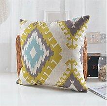 Geometrisches Baumwoll- Und Leinenkissen Sofa-kissen Einfache Moderne Taillenkissen-A 45x45cm(18x18inch)VersionA