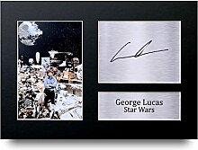 GEORGE LUCAS unterzeichnet A4gedrucktem