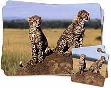 Geparden auf Armbanduhr Twin 2x Platzsets + 2x