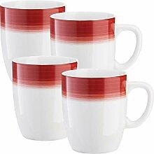 Gepolana Kaffeebecher 4er-Pack Porzellan bordeaux