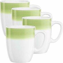 Gepolana Kaffeebecher 4er-Pack Porzellan grün