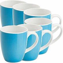 Gepolana Kaffeebecher 6er-Pack Porzellan blau