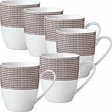 Gepolana Kaffeebecher 6er-Pack Porzellan braun
