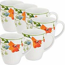 Gepolana Kaffeebecher 6er-Pack Porzellan Bun