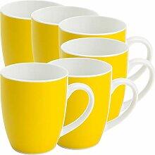 Gepolana Kaffeebecher 6er-Pack Porzellan gelb