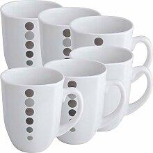 Gepolana Kaffeebecher 6er-Pack Porzellan grau
