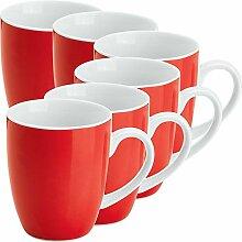 Gepolana Kaffeebecher 6er-Pack Porzellan ro