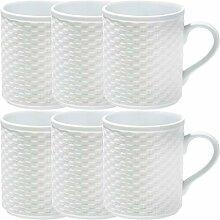 Gepolana Kaffeebecher 6er-Pack Porzellan weiß
