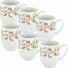 Gepolana Kaffeebecher 6er-Pack Porzellan