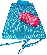 Gepolsterte Strandmatte mit Kissen und Tragegriffen, ca. 80 x 180 cm, erdbeerrot-wei0