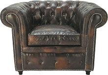 Gepolsterter - Sessel aus Leder, mokka Chesterfield
