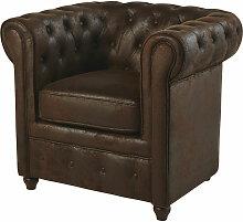 Gepolsterter Sessel aus Wildlederimitat, braun