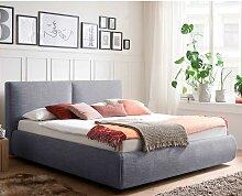 Gepolstertes Bett in Blau Webstoff Bettkasten