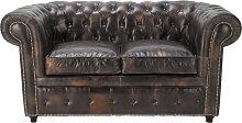 Gepolstertes -Sofa 2-Sitzer aus Leder, mokka