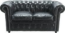 Gepolstertes -Sofa 2-Sitzer aus Leder, schwarz