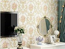 Geprägt Vintage Floral Kontakt Papier, selbstklebend, nicht-gewebte Tapete für Wohnzimmer Schlafzimmer Küche Badezimmer Wand Decor (gelb und pink, 52,9cm von 9.8Füße)