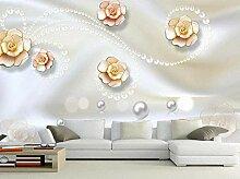 Geprägte Blumenperle Luxus Tapete Vlies Tapete