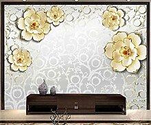 Geprägter Luxus aus Platinblüten Tapete Vlies