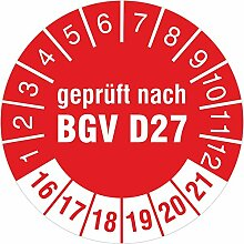 Geprüft nach BGV D27 rot 2016-2021 Prüfplakette