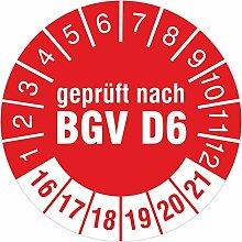 Geprüft nach BGV D6 rot 2016-2021 Prüfplakette