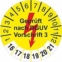 Geprüft nach DGUV Vorschrift 3 gelb mit Blitz