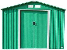 Geräteschuppen / Gartenhaus - Aus Metall mit Zinkrahmen - 305 x 244 cm - Grün