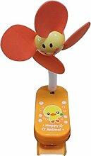 Geräuschloser Mini Clip-On Fan, Bären-Form (Orange)