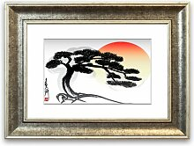 Gerahmter Grafikdruck Bonsai-Baum East Urban Home