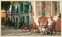 Gerahmtes Acrylbild Hinterhof mit Fahrrad