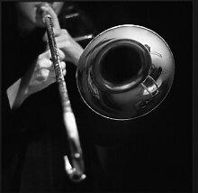 Gerahmtes Acrylbild Musiker mit Trompete